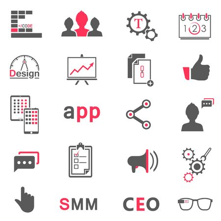 Set of vector icons and symbols app, seo, smm, programming and design - stock vector. Creative minimalist icons for your design.