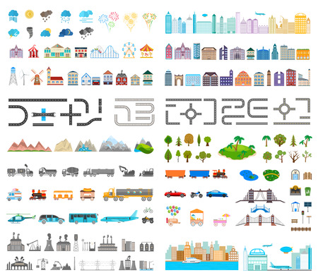 Illustration for Elements of the modern city. Design your own town. Map elements for your pattern, web site or other type of design. Vector illustration. - Royalty Free Image