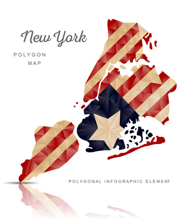 Vector polygon map of New York on a white isolated