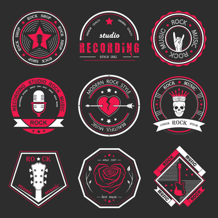 Set of logos rock music and recording studios. Music design elements with font type and illustration vector. Vintage label Rock Beast ( T-Shirt Print ).