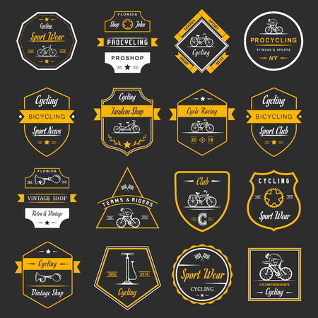 Ilustración de Set of vintage, modern and retro badges and labels bicycle, pro bike, shop, equipment and club. Cycling typographic sign, icons and old emblems  - Imagen libre de derechos