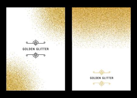 Ilustración de Vector banners and cards gold sparkles on white background.  - Imagen libre de derechos