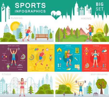Sport infographic banners and elements with running, bodybuilding, fitness and hiking.