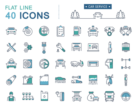 Ilustración de Set vector line icons car service, auto repair and transport in flat design with elements for mobile concepts and web apps. Collection modern infographic logo and pictogram. - Imagen libre de derechos