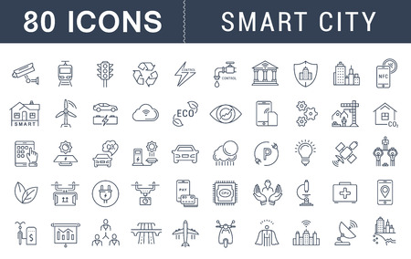 Set vector line icons with open path smart sity and technology with elements for mobile concepts and web apps. Collection modern infographic logo and pictogram.