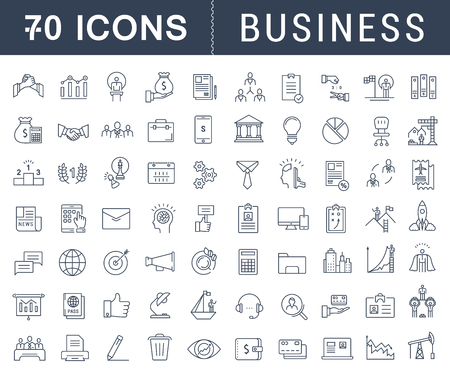 Illustration pour Set vector line icons with open path business, finance and teamwork with elements for mobile concepts and web apps. Collection modern infographic  and pictogram - image libre de droit