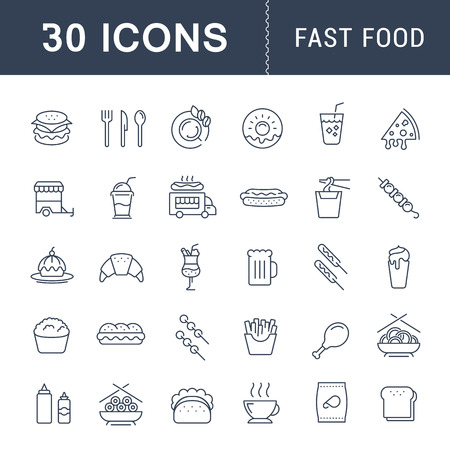 Set vector line icons with open path fast food and Chinese food with elements for mobile concepts and web apps. Collection modern infographic  and pictogram.