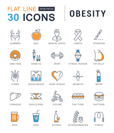 Set vector line icons in flat design obesity, junk food and health with elements for mobile concepts and web apps. Collection modern infographic  and pictogram.