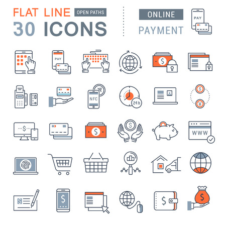 Illustration for Set vector line icons in flat design online banking, payment and online shopping with elements for mobile concepts and web apps. - Royalty Free Image