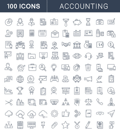 Illustration for Set vector line icons in flat design accounting, finance and business with elements for mobile concepts and web apps. Collection modern infographic pictogram. - Royalty Free Image