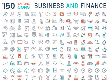 Ilustración de Set vector line icons in flat design with elements for mobile concepts and web apps. Collection modern infographic pictogram. - Imagen libre de derechos