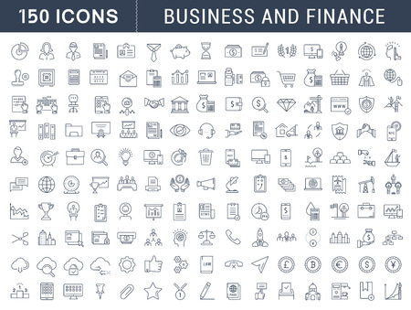Ilustración de Set vector line icons in flat design with elements for mobile concepts and web apps. Collection modern infographic logo and pictogram. - Imagen libre de derechos