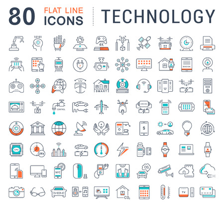 Photo pour Set vector line icons in flat design technology, electric car, smart city, house , internet of things, online payment. Elements for mobile concepts. Collection modern infographic  and pictogram. - image libre de droit