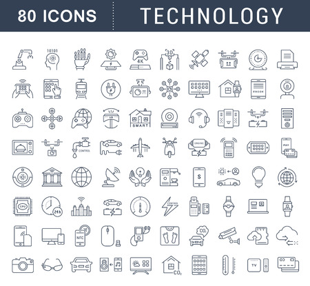 Illustration for Set vector line icons in flat design technology, electric car, smart city, house , internet of things, online payment. Elements for mobile concepts. Collection modern infographic and pictogram. - Royalty Free Image