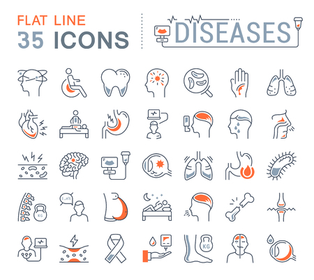 Illustration pour Set vector line icons, sign and symbols in flat design of diseases and ill with elements for mobile concepts and web apps. Collection modern infographic logo and pictogram. - image libre de droit