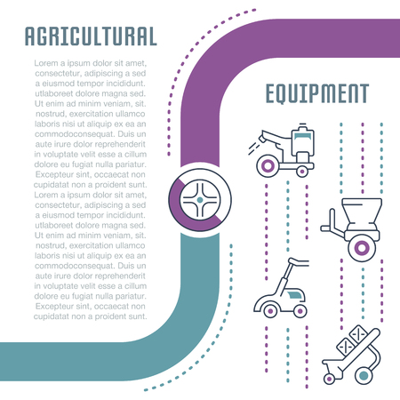 Line illustration of agricultural equipment. Concept for web banners and printed materials. Template for website banner and landing page.