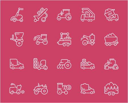 Collection of line white icons of agricultural machinery. Set of vector simple elements with bold outlines on a color background. Info graphics signs and pictograms.