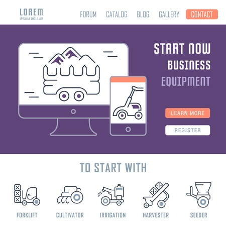 Line illustration of equipment. Concept for web banners and printed materials. Template with buttons for website banner and landing page.