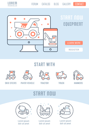Illustration pour Line illustration of equipment. Concept for web banners and printed materials. Template with buttons for website banner and landing page. - image libre de droit