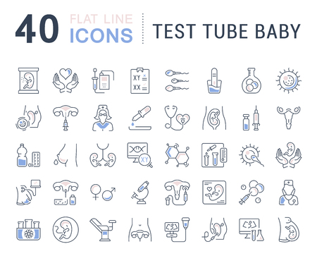 Set of vector line icons, sign and symbols with flat elements of test tube baby for modern concepts, web and apps. Collection of infographics logos and pictograms.