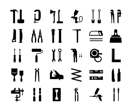 Illustration pour Set vector icons of building tools. Collection of vector isolated objects on white background. - image libre de droit