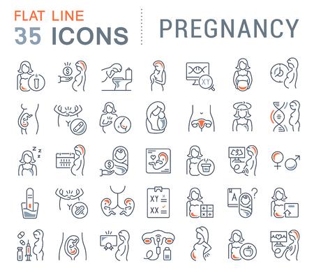 Illustration pour Set of vector line icons of pregnancy for modern concepts, web and apps. - image libre de droit