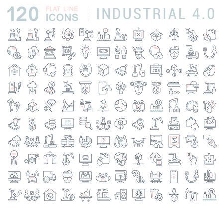 Illustration pour Set of vector line icons of industrial 4.0 for modern concepts, web and apps. - image libre de droit