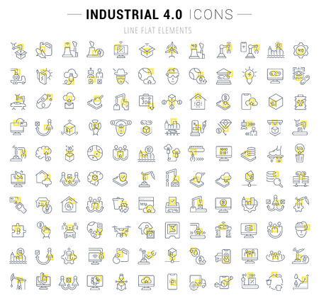 Illustration pour Set of vector line icons and signs with yellow squares of industrial 4.0 for excellent concepts. Collection of infographic and pictogram. - image libre de droit