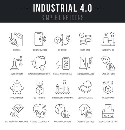 Illustration pour Set of linear icons of industrial 4.0 with names. - image libre de droit