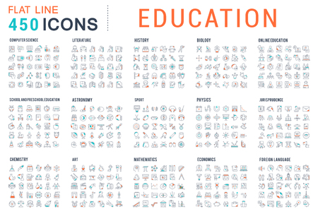 Illustration pour Collection of vector line icons of education. Natural and mathematical science, additional education, tutorship, freelance. Set of flat signs and symbols for web and apps. - image libre de droit
