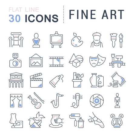 Illustration pour Set of vector line icons of fine art for modern concepts, web and apps. - image libre de droit