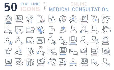 Illustration pour Set of vector line icons of online medical consultation for modern concepts, web and apps. - image libre de droit