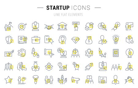 Illustration pour Set of vector line icons and signs with yellow squares of startup for excellent concepts. Collection of infographics logos and pictograms. - image libre de droit