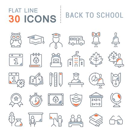 Illustration pour Set of vector line icons of back to school for modern concepts, web and apps. - image libre de droit