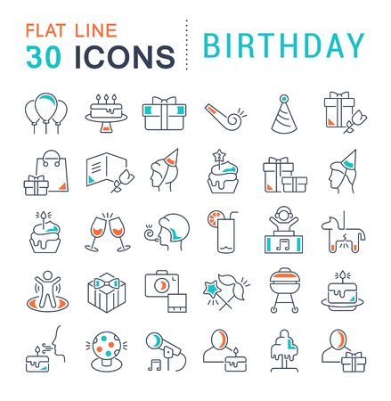 Illustration pour Set of vector line icons of birthday for modern concepts, web and apps. - image libre de droit