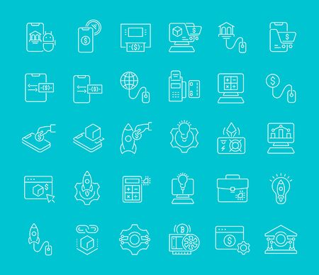 Illustration pour Set of vector line icons of business technology for modern concepts, web and apps. - image libre de droit