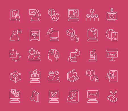 Ilustración de Set of vector line icons of educational technology for modern concepts, web and apps. - Imagen libre de derechos
