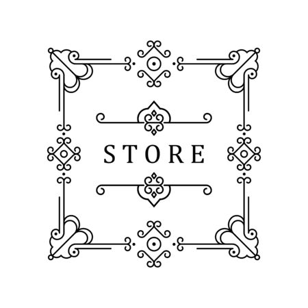 Illustration pour Template for luxury logos, monograms, and labels. Frame with borders for a restaurant, royalty, boutique, hotel, heraldic, jewelry, fashion, and other vector illustration. - image libre de droit