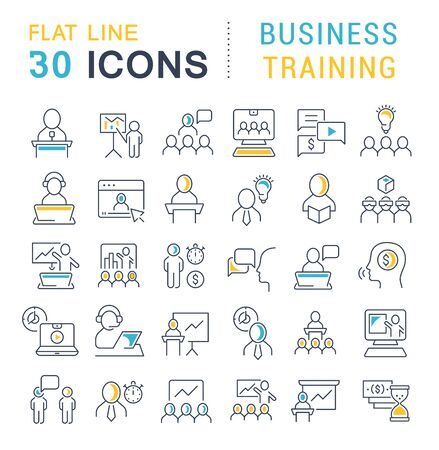 Illustration pour Set of icons of business training for modern concepts, web and apps. - image libre de droit