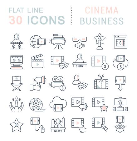 Photo pour Set of linear icons with colored elements of cinema business for websites, applications and programs - image libre de droit