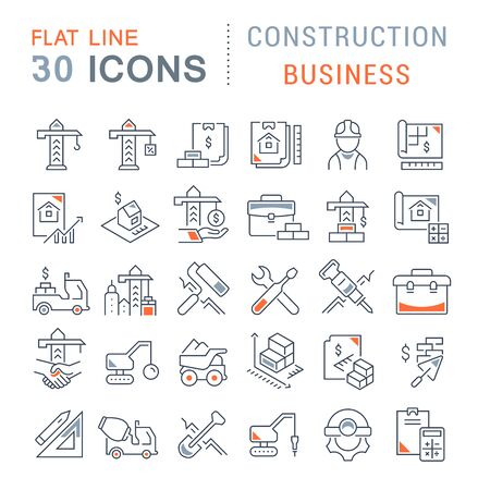 Photo for Set of vector line icons of construction business for modern concepts, web and apps. - Royalty Free Image