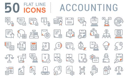Foto de Set of vector line icons of accounting for modern concepts, web and apps. - Imagen libre de derechos