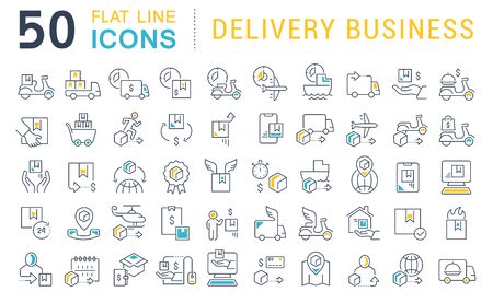 Photo pour Set of vector line icons of delivery business for modern concepts, web and apps. - image libre de droit