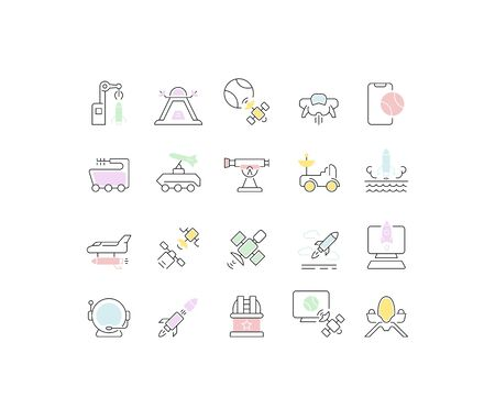 Set of vector line icons of space technology for modern concepts, web and apps.