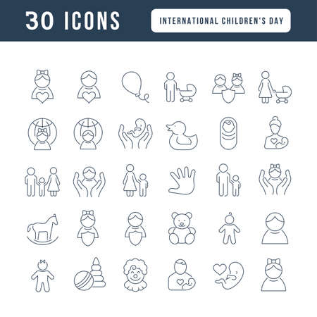 Illustration pour Set vector line thin icons of international childrens day in linear design for mobile concepts and web apps. Collection modern infographic pictogram and signs. - image libre de droit