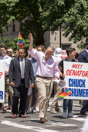 "New York City, USA-June 25, 2017: U.S. Senator Charles Ellis ""Chuck� Schumer participates in NYC Pride March. Gay Pride events occur throughout the month of June, culminating with the March along the 5th Avenue."