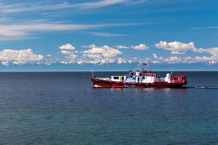 Ship with tourists on lake Baikal