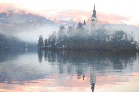 Misty evening at the Bled lake