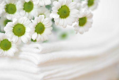 Tiny white daisies on a pile of white clothes