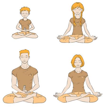 Family practise yoga isolated ob white